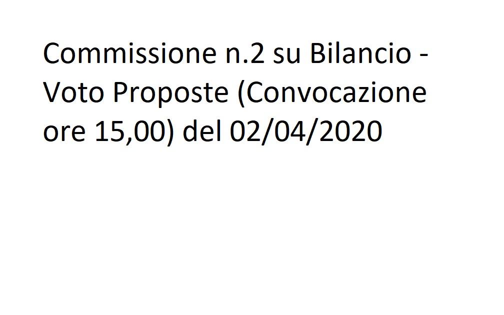 Commissione n.2 su Bilancio - Voto Proposte del 02/04/2020 ore 15:00