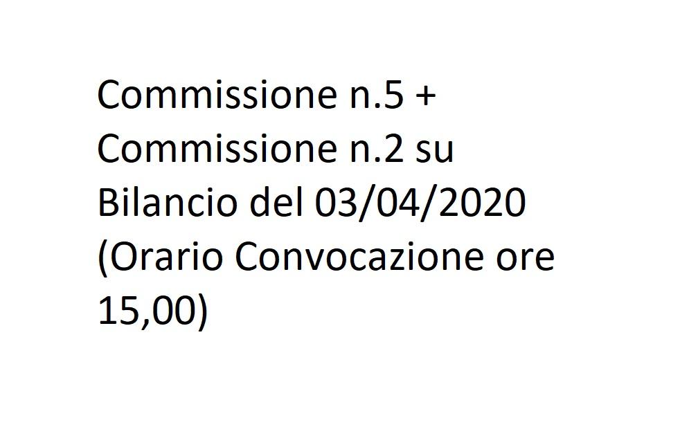 Commissione n.5 + Commissione n.2 su Bilancio del 03/04/2020 (Orario Convocazione ore 15,00)